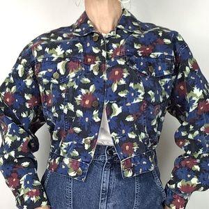 Vintage 80s 90s Floral Trucker Jean jacket cropped